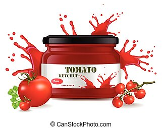Tomato sauce product mock up. Realistic Vector label packaging. Splash backgrounds