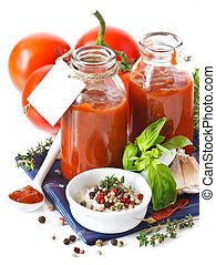 Tomato sauce. - Traditional homemade tomato sauce with empty...