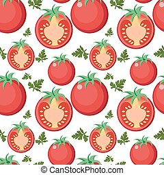 Tomato seamless pattern. Tomatoes endless background, texture. Vegetable backdrop. Vector illustration.