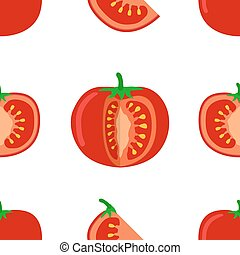 Tomato seamless pattern. Vector illustration of tomato and slices on white background.
