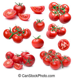 Tomato set isolated on white.