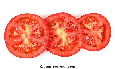 Tomato slice isolated on white background.