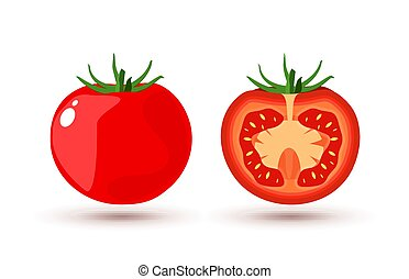Tomato slice isolated on white flat design. Tomato organic food vector illustration of healthy vegetable