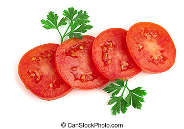 tomato slice with leaf parsley isolated on white background. Top view