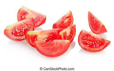 Tomato slices - Few tomato slices isolated on white...