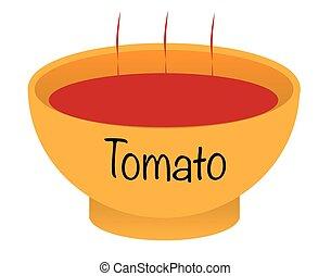 Tomato Soup Bowl - A tomato soup bowl over a white...