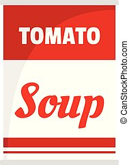 Tomato soup can icon, flat style