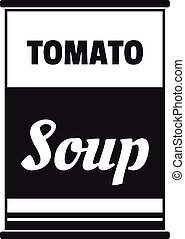 Tomato soup can icon, simple style