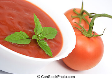 Tomato soup - Fresh tomato soup with basil leafs and two ...