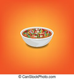 Tomato soup in a bowl with piece of tomato, onion, carrot
