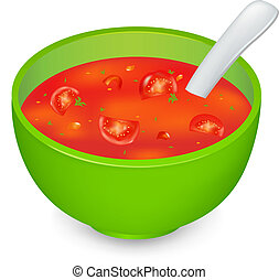 Tomato Soup In Green Plate, Isolated On White Background, Vector Illustration