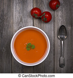 Tomato soup vintage - A bowl of tomato soup with a tarnished...