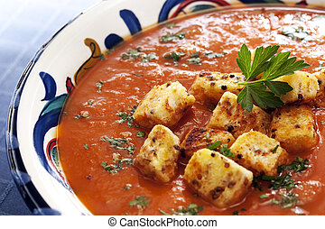 Tomato Soup with Croutons - Tomato soup topped with fresh...