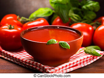 tomato soup with green basil