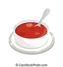 tomato soup with spoon on dish food flat style icon