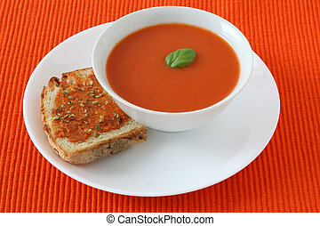 Tomato soup with toast