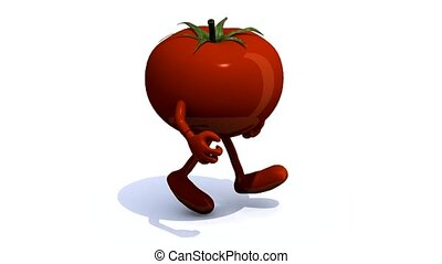 tomato that runs, 3d animation loop