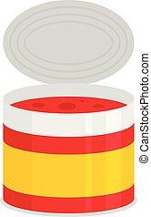 Tomato tin can icon, flat style