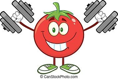 Tomato Training With Dumbbells - Smiling Tomato Cartoon...