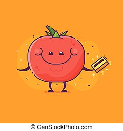 Tomato Vegetable Character with Credit Card