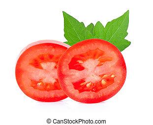 Tomato vegetable slice isolated on white background
