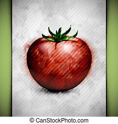 Tomato watercolor - Tomato in watercolor style. Eps 10