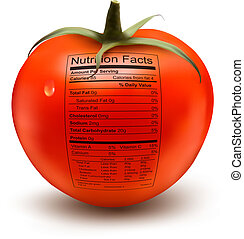 Tomato with a nutrition facts label. Concept of healthy food...