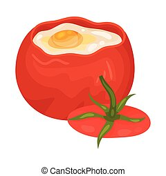 Tomato with eggs inside. Vector illustration on a white background.