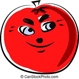 Tomato with eyes, illustration, vector on white background.