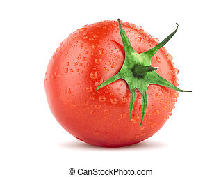Tomato with green leaf and drops