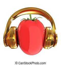 tomato with headphones. 3D illustration