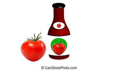 Tomato with jar with tomato sauce