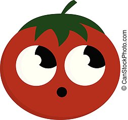 Tomato with open mouth vector or color illustration