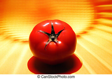 tomato with yellow and red background