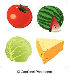 tomato,cabbage stalk,Piece of cheese,watermelonOne red ripe toma