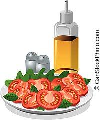 tomatoe, olaj, főzés, saláta