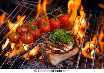 tomatoe, parrilla, estaca