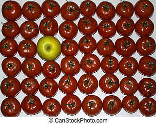 Tomatoes and apple lie in rows