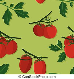 Tomatoes and leafs illustration