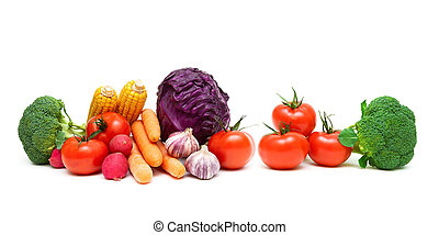 tomatoes and other vegetables on a white background