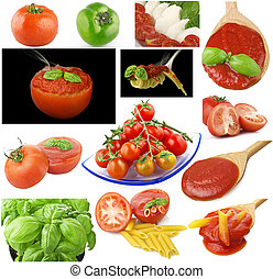 Tomatoes and spices collage on white