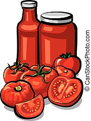 tomatoes and tomato sauce - illustration of fresh tomatoes...