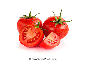 Tomatoes are red on a white background