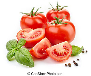 tomatoes, basil leaves and pepper