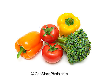 tomatoes, bell peppers and broccoli isolated on white background