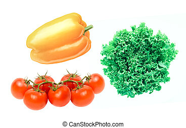 tomatoes, bell peppers, zuccini, lettuce