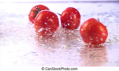 Tomatoes Falling in Slow Motion