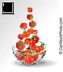 Tomatoes falling into glass bowl. Realistic vector on transparent background. Many red tomato fall.