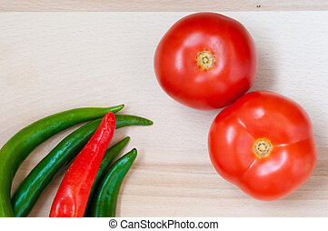 Tomatoes, green and red pepper