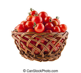 tomatoes in a basket isolated on white background close-up